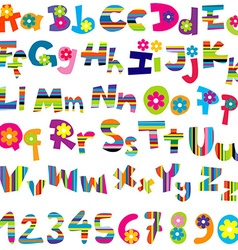 Alphabet set and numbers vector