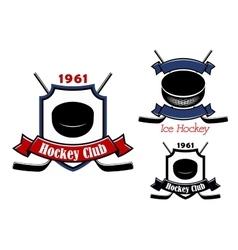 Ice hockey club emblems or badges vector image