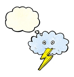Cartoon lightning bolt and cloud with thought vector