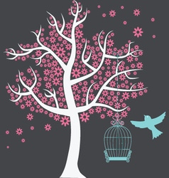 Tree with birdcage vector