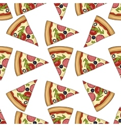 Seamless pattern color pizza with salami vector image