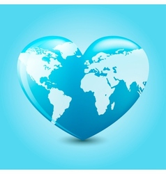Earth heart vector image