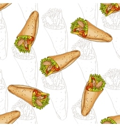 Seamless pattern burrito scetch and color vector