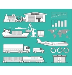 Warehouse airplane ship truck train car vector