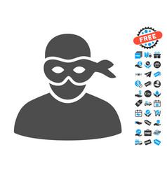 Anonimious thief flat icon with free bonus vector