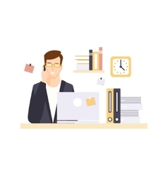 Busy Man Office Worker In Office Cubicle Having vector image