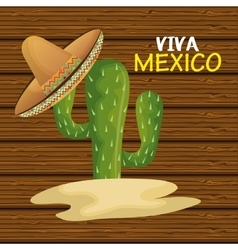 Cactus with hat mexican icon design graphic vector