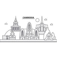 Cambodia architecture line skyline vector