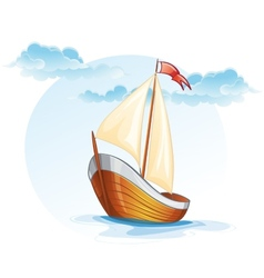 Cartoon image of a wooden sailing boat vector