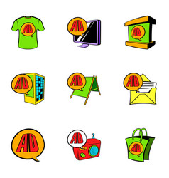 cashpoint icons set cartoon style vector image