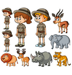 children in safari outfit and many wild animals vector image