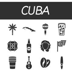 Cuba icons set vector