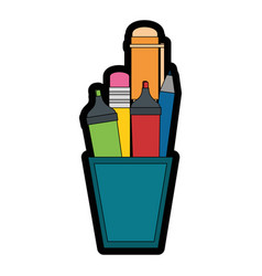 Cup with pencils icon vector