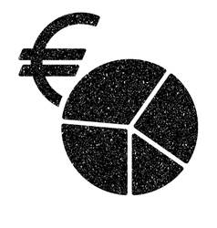 Euro currency pie chart grainy texture icon vector
