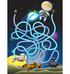 Game template with astronaut in space vector image