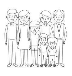 happy family parents son daughter and grandparents vector image