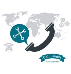 Phone wrench gears call center icon vector