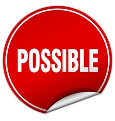 Possible round red sticker isolated on white vector