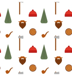 Seamless pattern with lumberjack icons mustache vector