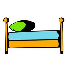 Single bed icon cartoon vector