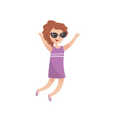 young happy woman in sunglasses having fun cartoon vector image vector image