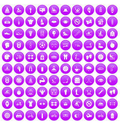 100 men health icons set purple vector