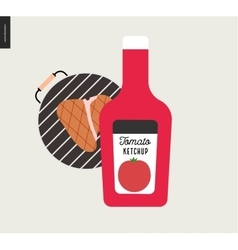 Barbecue grilled meat and ketchup vector