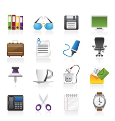 Business and office objects icons vector image