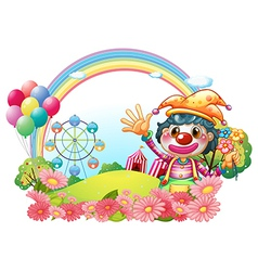A female clown waving her hands near the garden vector image