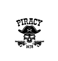 Pirate skull in hat icon for piracy flag vector
