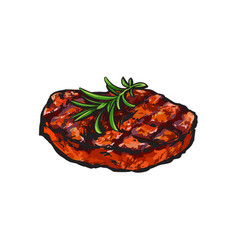 grilled beef steak beefsteak with rosemary vector image