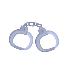pair of metallic handcuffs cartoon vector image
