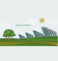 Solar panels batteries on clean field concept vector