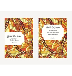 Beautiful hand drawn wedding invitation cards vector