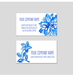 Two business cards watercolor floral background vector
