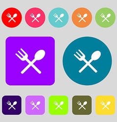 Fork and spoon crosswise cutlery eat icon sign 12 vector