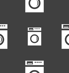 Washing machine icon sign seamless pattern on a vector
