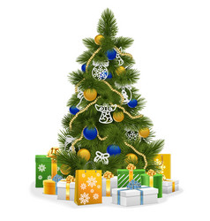 Christmas tree with blue decorations vector