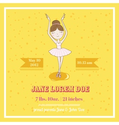 Cute Balerina Card - for Baby Shower vector image