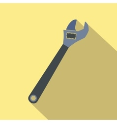 Adjustable wrench flat icon with shadow vector