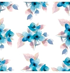 Watercolor flowers seamless pattern vector