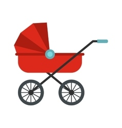Red baby carriage icon vector