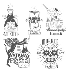 Set of tequila labels in vintage style vector
