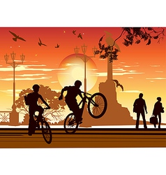 cyclists perform tricks vector image