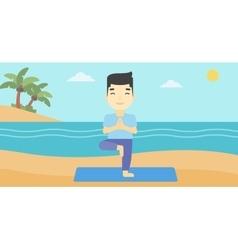 Man practicing yoga tree pose on the beach vector