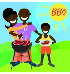 BBQ party with family and kebab steak grill vector image vector image