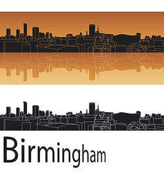 Birmingham skyline in orange background vector image