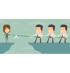 Businesswoman in tug of war vector