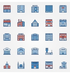Colorful building icons set vector