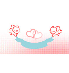 Cupid and ribbon little angel vector